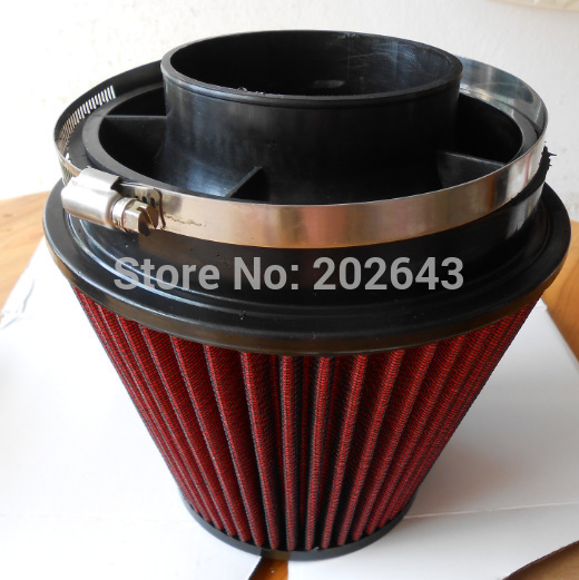 6'' Red Air Filter With 140mm Height & Velocity Stack 3''/3.5''/4' Universal For Car Air Intake Pipe Filter Turbo Car Styling
