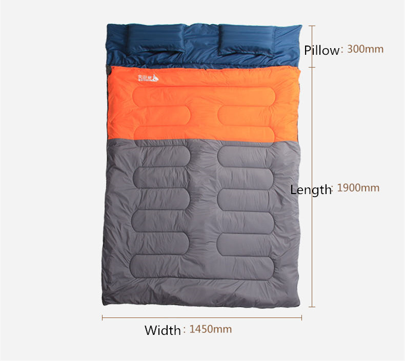 Sleeping Bag Couple with pillows outdoor camping indoor mat for lunch break portable Adult lover warm for four seasons (1)