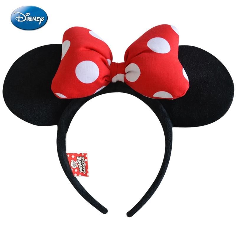 Genuine Disney Minnie Mouse Headdress Disney Mickey Head Minnie Ears Girls Hair Bands Princess Head Hoop Plush Toys Bag Keychain