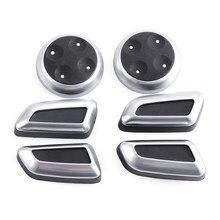 6 pçs/set ABS Botão de Ajuste Do Assento Chrome Knob Switch Para Audi A4 A4L A5 A6 A6L A7 Q5 Q3 Acessórios