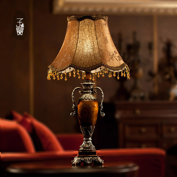 2015 W12\'\'*H24\'\' resin vintage bedside lamp,e27 European table ...