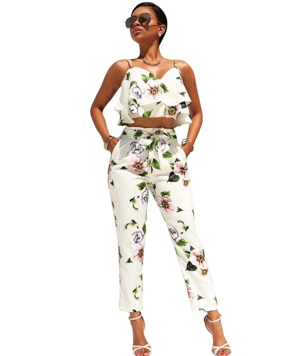 e899d487cec 2017 Women s Sexy Off Shoulder 2 Pieces Outfits Jumpsuit Floral Print Crop  Tops and Pants Set