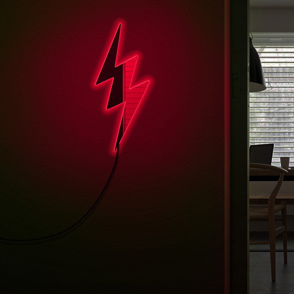 Lightning Bolt Decorative Wall Art Mirror With LED illumination Contemprorary Lightning Sign Acrylic Mirror For Living