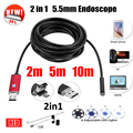 5.5mm Lens 2IN1 USB Endoscope Camera 5M 10M Snake Tube Pipe Waterproof USB Endoskop Car Inspection Borescope Mini Camera