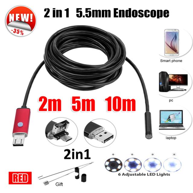 5.5mm Lente 2EM1 USB Endoscópio Camera 5 M 10 M Serpente Tubo Tubulação Endoskop USB Borescope Inspeção Do Carro À Prova D' Água Mini Câmera