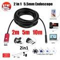 5.5mm Lente 2EN1 USB Endoscopio Cámara 5 M 10 M Tubo de La Serpiente Tubo Impermeable USB Endoskop Coche Inspección Boroscopio Mini Cámara