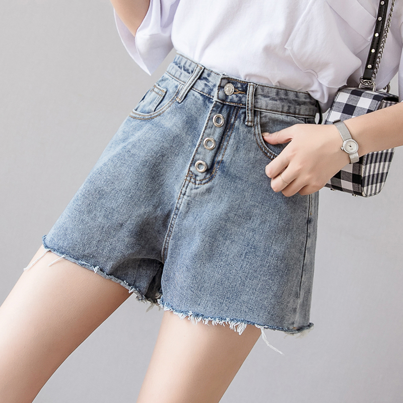 Motivated Raw Edge Denim Shorts Jeans High Waist Shorts Fashion Slim Flit Summer Hot Short Women Wide Leg Shorts Pockets Fine Craftsmanship Jeans Bottoms