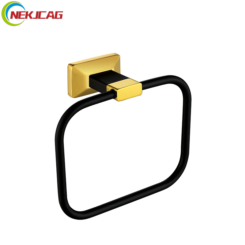 Black Golden Towel Rings Solid Brass Towel Holder Wall Mounted Bathroom Hardware Towel Shelf Racks стоимость