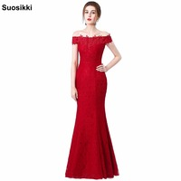 2015 New Long Evening Dress Party Dresses Mermaid Boat Neck Embroidery Lace Red Evening Dress Vestido