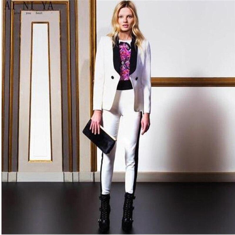 Jacket+Pants White Women Business Suits Formal Black Satin Lapel Office Uniform women professional suits