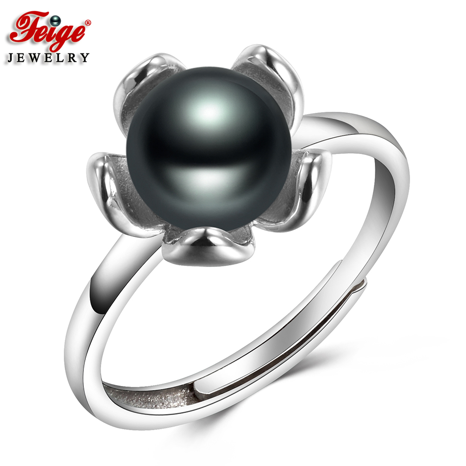 Classic Flower Black Pearl Ring For Girls Celebration Jewellery Presents 7-8Mm Freshwater Pearl Finger Ring Superb Jewellery Dropshipping Feige