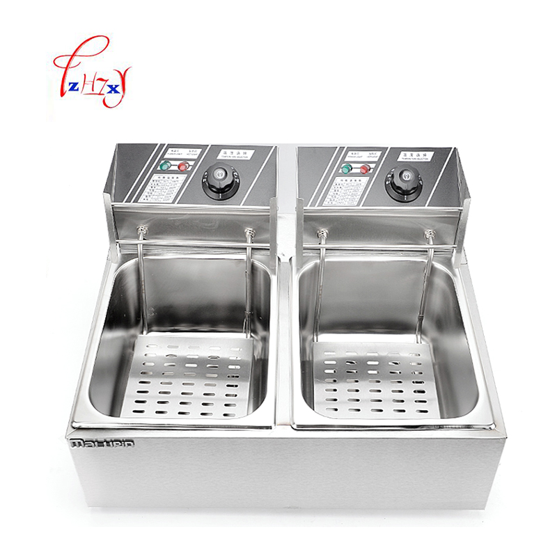 Stainless Steel 2 Tanks Electric Deep Fryer commercial electric fryer French fries Fried chicken Deep frying furnace WK-82 commercial double screen cylinder electric deep fryer french fries machine oven pot frying machine fried chicken row eu us plug