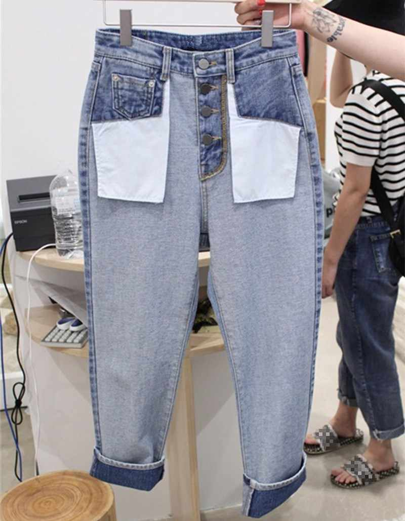 2018 New Autumn Korean Women Straight Jeans Fashion High Waist Wide Leg Pants Casual Loose Denim Trousers