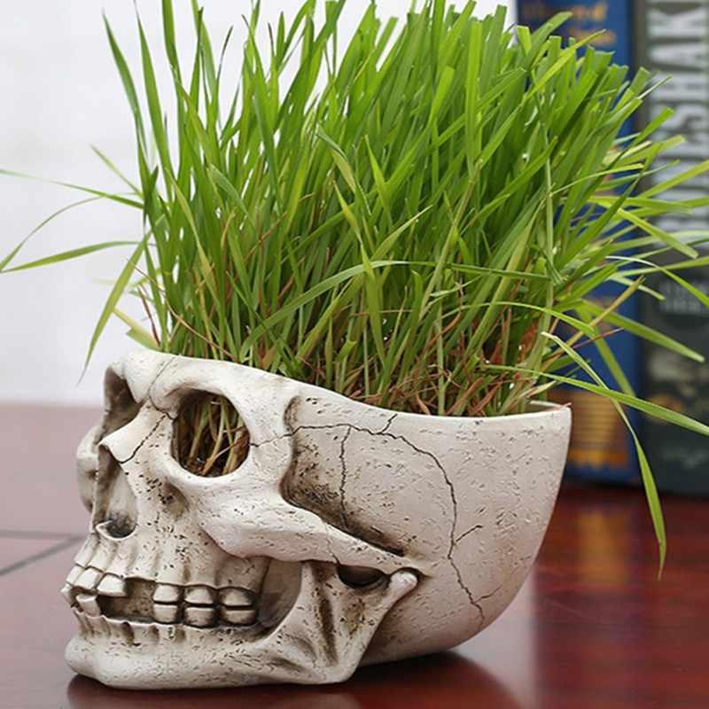 Resin Skulls กระถางดอกไม้สร้างสรรค์โครงกระดูกเครื่องประดับฮาโลวีนสยองขวัญจำลองดอกไม้กะโหลกศีรษะหม้อภาพยนตร์ Props Garden Supply