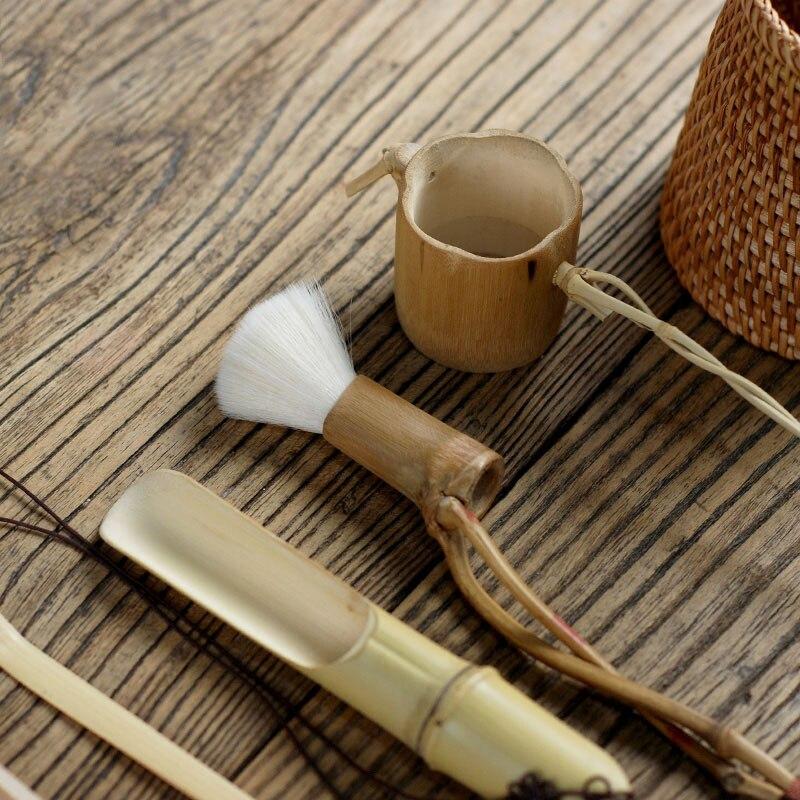 6 pièces/ensemble à la main en rotin de haute qualité chinois Kongfu thé cérémonie ustensiles ensemble bambou thé accessoires outils - 3