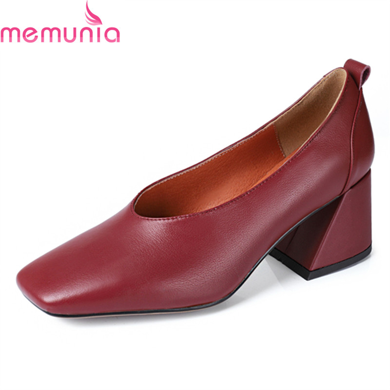 MEMUNIA 2018 spring autumn fashion genuine leather women pumps thick high heels square toe black comfortable casual shoes memunia spring autumn fashion high