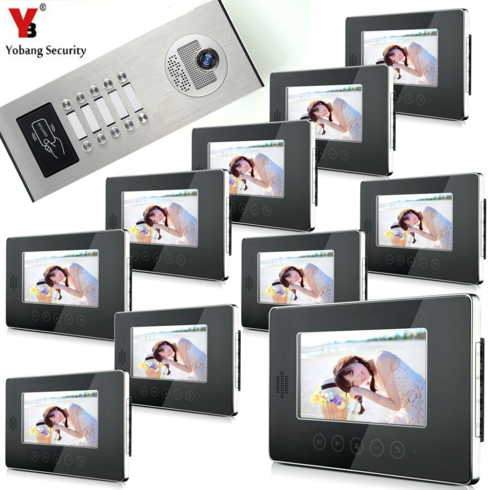 YobangSecurity 7 Wired Video Door Phone Doorbell Intercom Security RFID Access Door Camera Bell System For 10 Multi Apartment