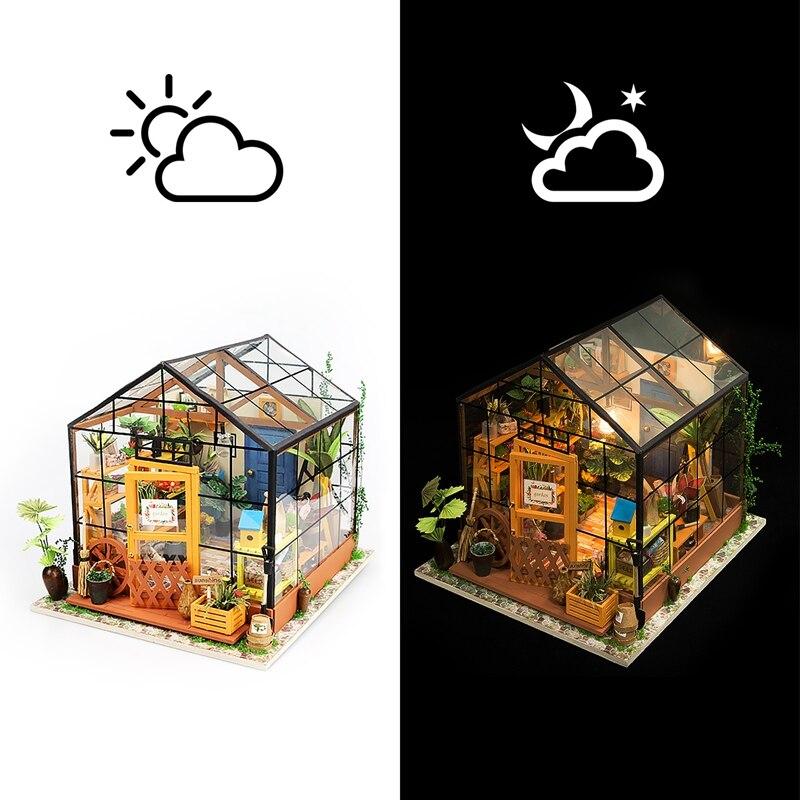 Robotime 15 Arten DIY Haus mit Möbel Kinder Erwachsene Miniatur Holz Puppe Haus Modell Gebäude Kits Puppenhaus Spielzeug DG