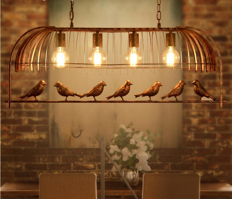 Vintage Iron Pendant Light American Industrial LOFT Bar Cafe bird Decor Hanging Lamp Lamparas Lustre 4 heads birdcage lamp loft iron pendant light indutrial vintage loft bar cafe restaurant nordic country style birdcage pendant lights hanging lamp
