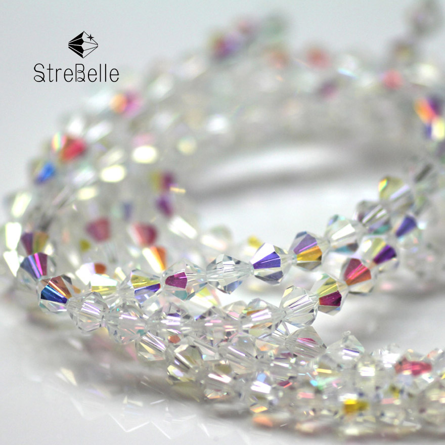 whloesale Free Shipping 200PC/STRIP 4 mm 6mmCrystal AB Bicone Crystal glass loose beads 4EA0