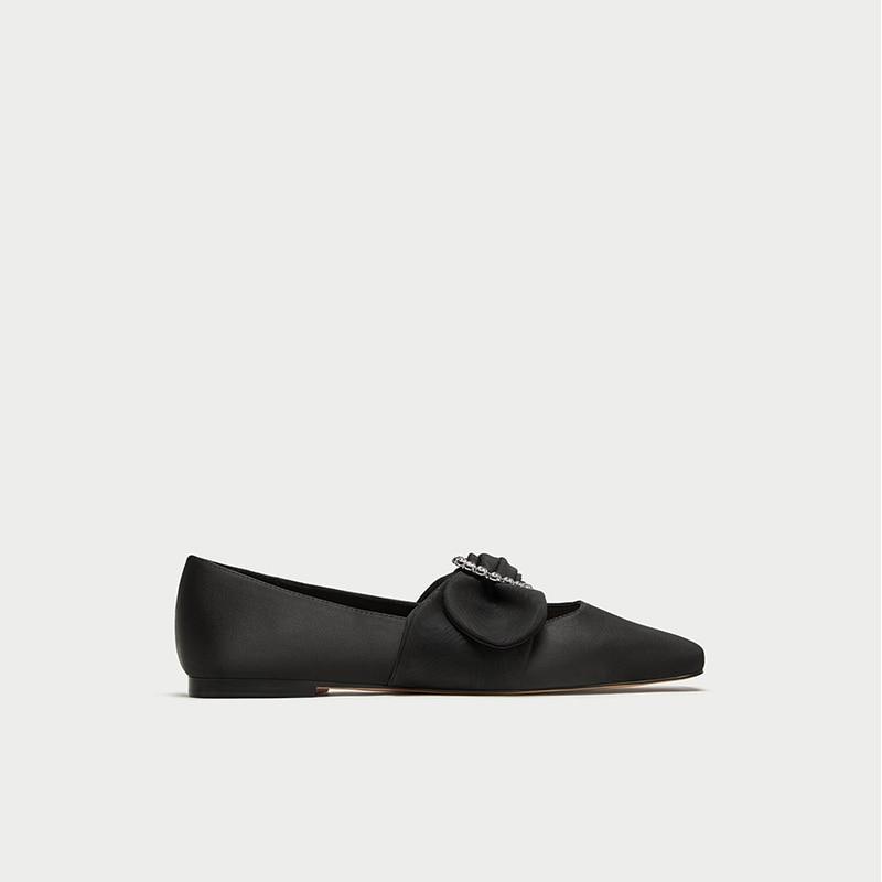 Chaussures Bouche Nouvelle Simples Carré Soie Boucle Décoratif Bijoux Diamant Ballet Profonde Satin Zr Plates Peu WIEHY9eD2
