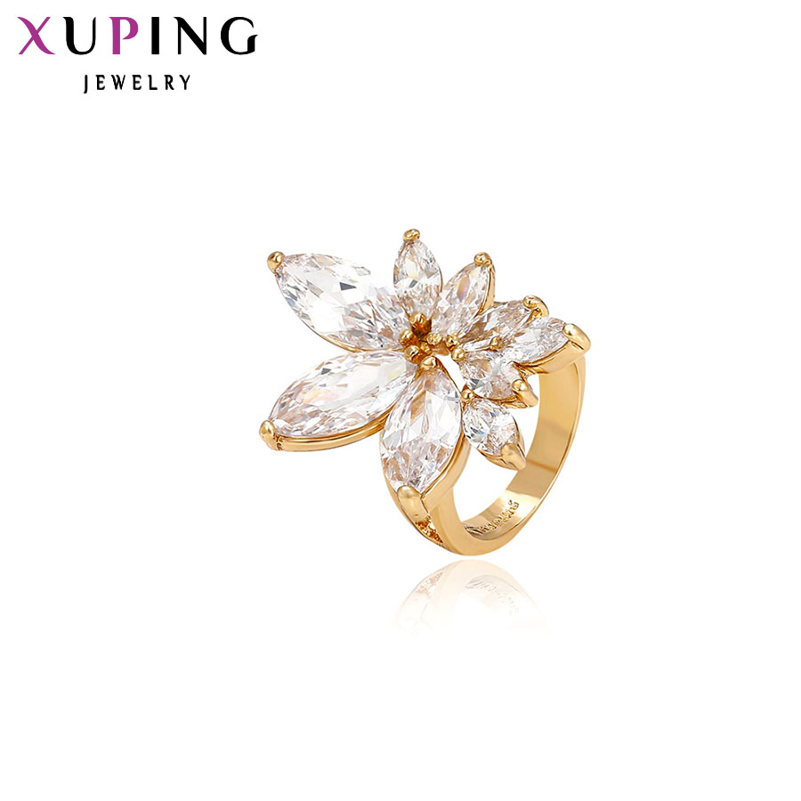 11.11 Xuping Finger Ring Special Design Gold Jewelry For Women Gold Color Plated Synthetic CZ Jewelry Party Christmas Gift 11091