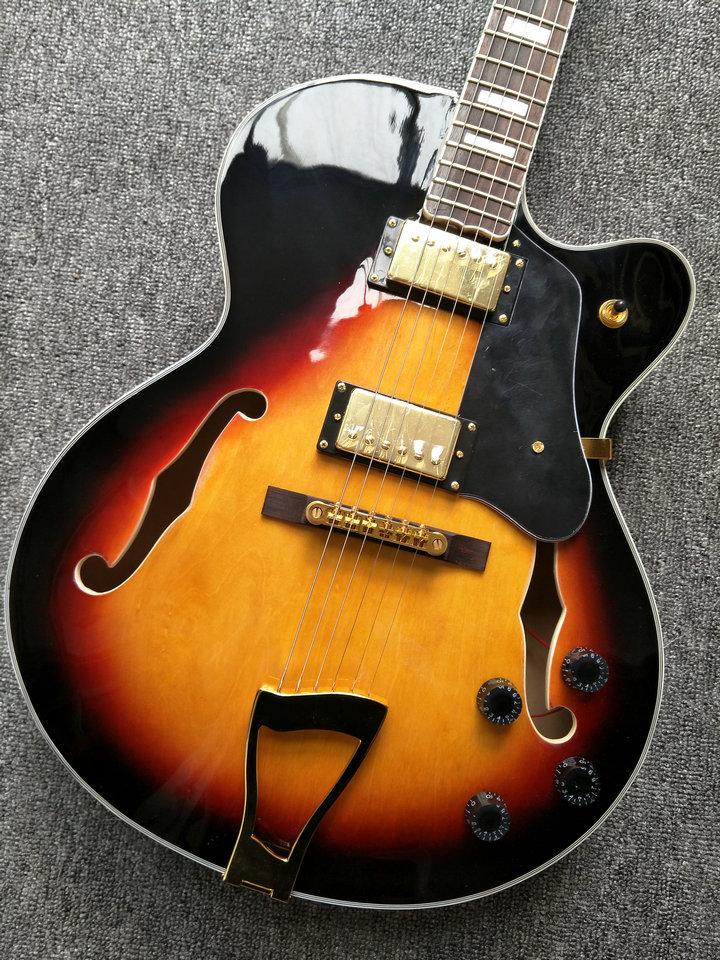 top selling vintage sunburst l5 electric jazz guitars with gold hardware china oem guitarra. Black Bedroom Furniture Sets. Home Design Ideas