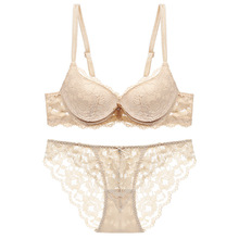 цена на 2018 floral wireless sexy bras lace lightly lined triangle bras set underwear women lingerie deep plunge V neck new arrival