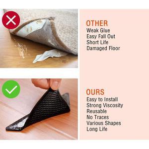 Image 4 - Rug Grijpers voor Tapijt Grijper voor Karpetten Dubbelzijdig Anti Curling Antislip Wasbaar Herbruikbare Pads voor Tegel vloeren Tapijt