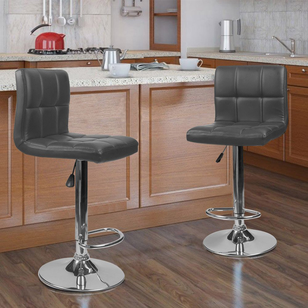 New 2Pcs set Six grid Backrest PU Leather Swivel Bar Chair Stool Height Adjustable Bar Stools