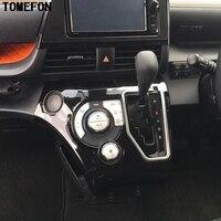 TOMEFON Chrome Carbon Fiber Black Auto Gear Knob Shift Platform Adjustment Panel Cover 2pcs For Toyota Sienta 2016 2017 XP170