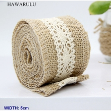 HAWARULU 1pcs 5cm DIY Christmas crafts cotton lace linen rolls trim fabric ribbon festival gift wedding decoration