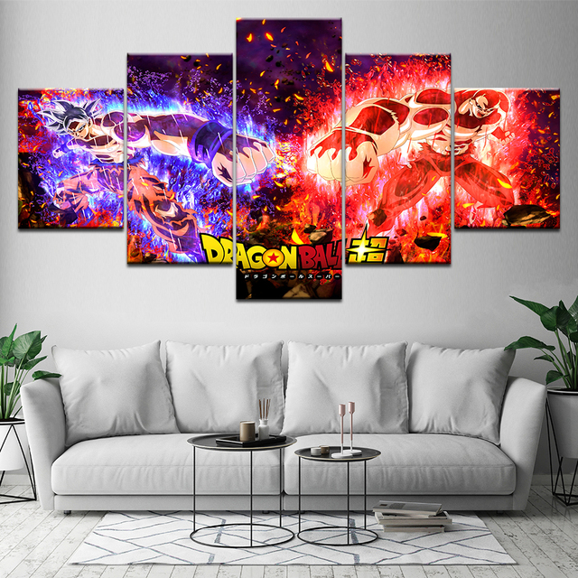 Canvas Paintings Wall Art HD Prints Frame 5 Pieces Dragon Ball Z Super Saiyan Pictures Abstract Poster Modular Living Room Decor