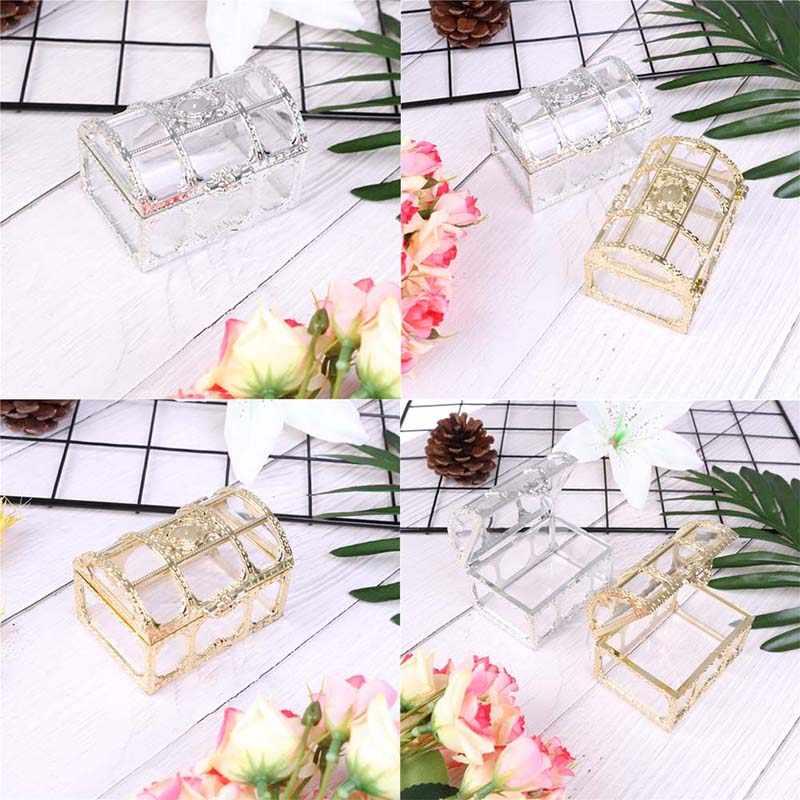 Ouro doce anel brincos colar caixa caso presente festa de aniversário decoração do casamento jóias embalagem grânulo armazenamento caixa de jóias de casamento