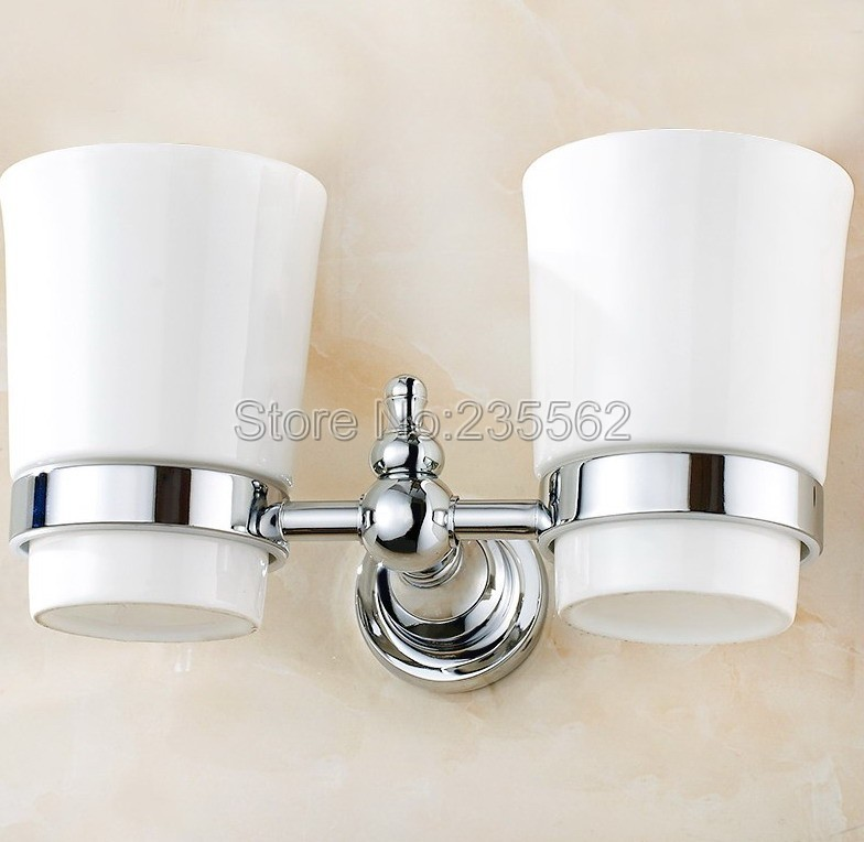 Polished Chrome Bathroom Accessory Wall Mounted Toothbrush Holder with Two Ceramic Cups lba908 image