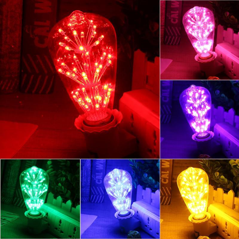 E27 3W 2200K Vintage LED Light Bulb Fireworks Starry Decorative 47 LEDs for Pendant Lamp Dimmable for Home Bar Cafe Use
