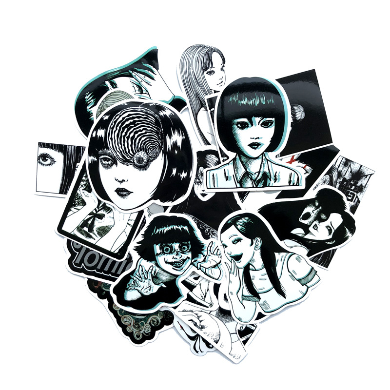 10/21 Pcs Horror Comic Fujiang Black And White Thriller Horror Style Toy Sticker Luggage Trolley Laptop Sticker Doodle Sticker