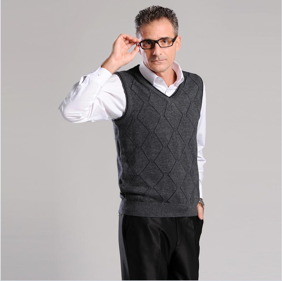 Wool Vest Men 2017 Autumn Spring New V-neck Sleeveless Sweater Man warm Knitwear