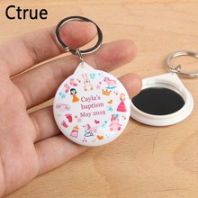 50pcs Personalized name date Keychain with Mirror boy baby shower gift birthday party decorations kids girl baby shower souvenir(China)