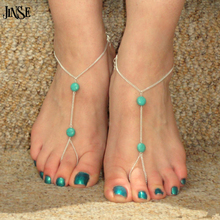 JINSE AK069 Ankle Bracelet Bangle Slave Chain Link Finger Hand Harness 2 Turquoise Bead Anklets Chain Accessories