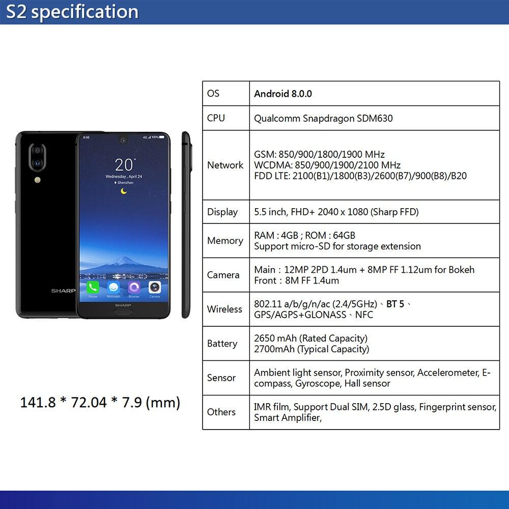 HTB17XGdR6TpK1RjSZKPq6y3UpXaq Global Version Sharp AQUOS S2 C10 4GB+64GB 5.5inch FHD+ Android8.0 Octa Core 12MP+8MP NFC Fingerprint 4G Smartphone