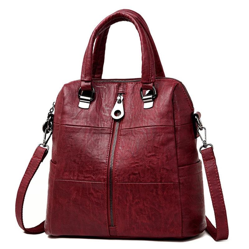 купить 3-in-1 Women Leather Backpacks Vintage Female Shoulder Bag Sac a Dos Travel Ladies Bagpack Mochilas School Bags For Girls Preppy по цене 3460.14 рублей