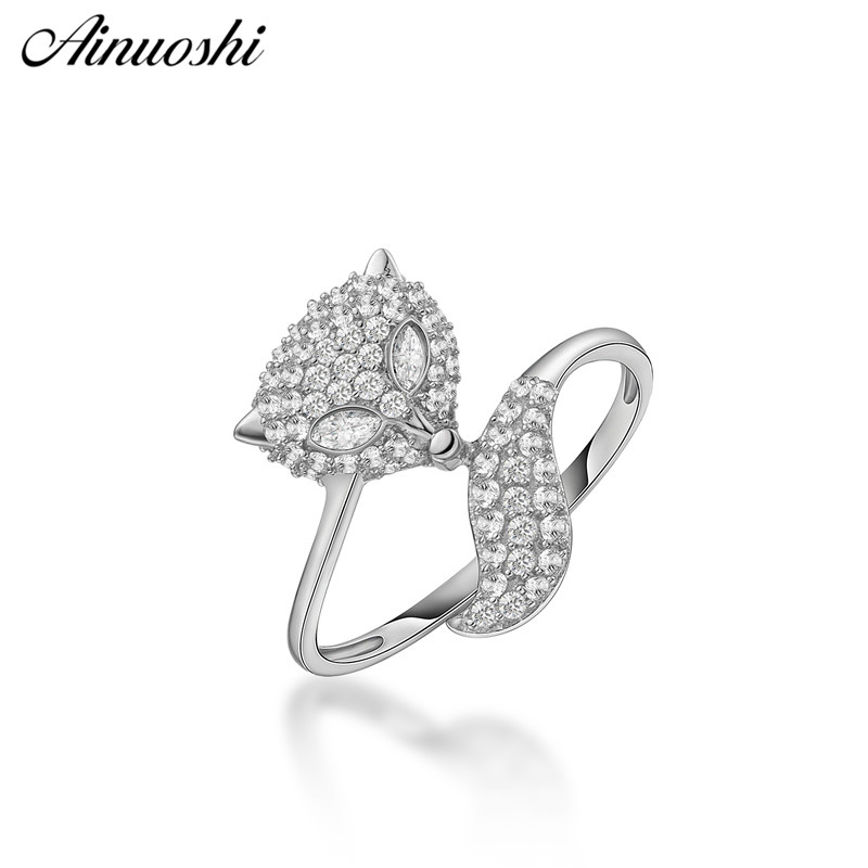 AINUOSHI Fashion 925 Sterling Silver Women Wedding Engagement Rings Animal Fox Rings Anniversary Jewelry anillo de compromisoAINUOSHI Fashion 925 Sterling Silver Women Wedding Engagement Rings Animal Fox Rings Anniversary Jewelry anillo de compromiso