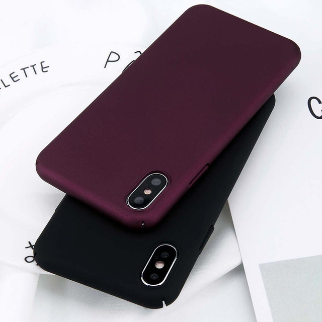 USLION For iPhone X Xs Max XR 8 7 Simple Plain Phone Case Slim Frosted Hard PC Back Cover For iPhone 8 7 6 6S Plus 5 5S SE Cases