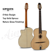 Aiersi Brand Oval Hole Petit Bouche Solid Top Django Jazz Gypsy Guitar With Free Guitar case