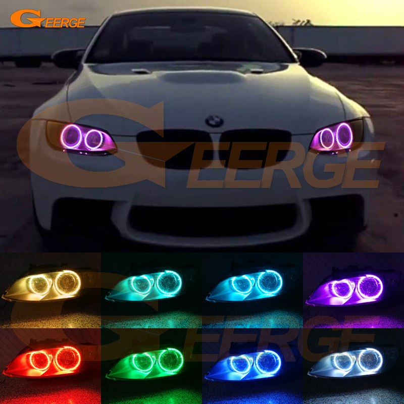 For BMW 3 Series E90 E92 E93 M3 2007-2013 Coupe cabriolet Excellent Multi-Color Ultra bright RGB LED Angel Eyes kit Halo Rings