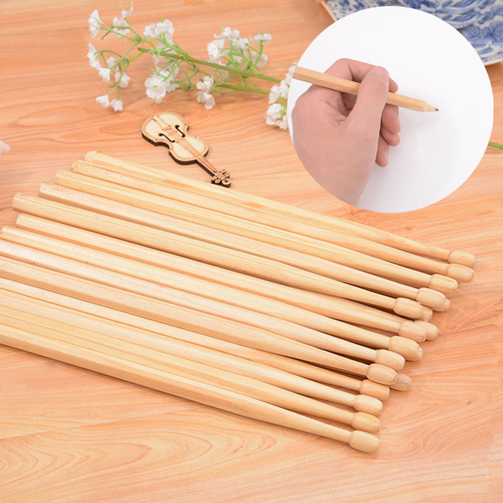 10 Pairs Drumsticks Pencil Suck UK Wood Log Manufacturing Baqueta HB Writing Safe Non-toxic Pencil Drumsticks For Drummer Gift