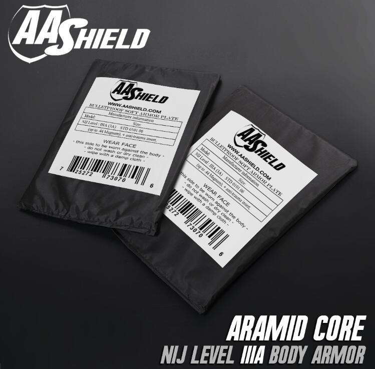 AA Shield Bullet Proof Soft Body Armor Plate Aramid Core NIJ Lvl IIIA Stab Resistand Plate Level II 6x8 Pair aa shield bullet proof soft panel body armor inserts plate aramid core self defense supply nij lvl iiia 3a 8x10
