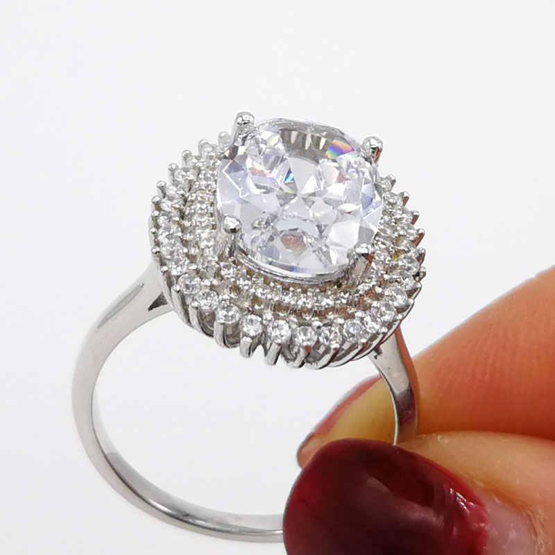 COLORFISH 高級 5ct オーバルダブルハロー婚約指輪女性 925 スターリングシルバーアニバーサリージュエリービッグ石ブライダルリング