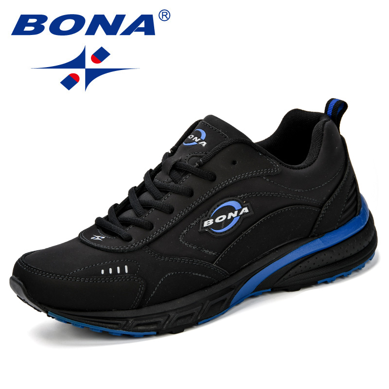 BONA 2018 New Running Shoes Men Breathable Zapatillas Hombre Outdoor Sport Sneakers Lightweigh Walking Shoes Jogging Shoes Man